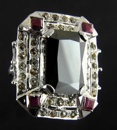 5ct Emerald Cut Black Diamond Cocktail Ring in Victorian Style Antique Finish With Rose Cut Diamonds by PlutoJewels on Etsy