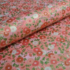 "Japanese Chiyogami Paper - 9"" x 12"" Floral Pattern - Pink and Red Floral"