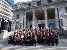 Youth MPs, MPs and Youth Press gallery members with the Governor General on the steps of Parliament House