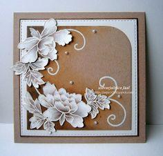 handmade card ... kraft and white ... gorgeous peonies ... Altenew ...