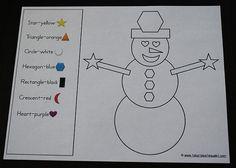 Color by shape snowman