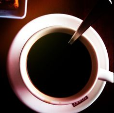 A black cup of coffee to start the day