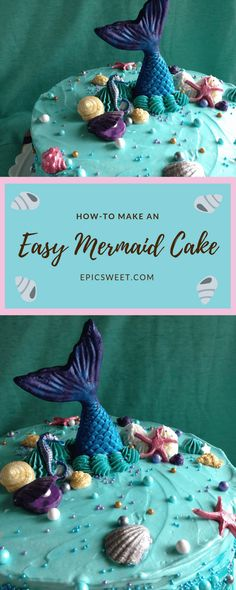 This mermaid cake is perfect for an under the sea party or a mermaid birthday party. It's simple to make with minimal piping skills needed and some super easy fondant work. It's a good cake to try if you don't do a lot of cake decorating. Pirate Birthday Cake, Mermaid Birthday Cakes, Adult Birthday Cakes, Mermaid Cakes, Birthday Ideas, Mermaid Tutu, 10th Birthday, Birthday Parties, Cake Decorating For Kids
