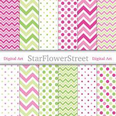 Pink Chevron Polka Dot with Green Digital Patterned Paper -- scrapbook background -- patterns scrapbooking girl 88 -- Instant Download by StarFlowerStreetDA