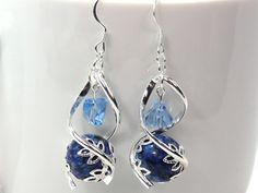 Lapis Lazuli and Silver Earrings by MyCreativeOasis on Etsy, $23.00
