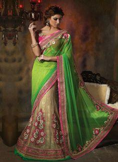 #Green & Cream Colored Net #Lehenga Saree