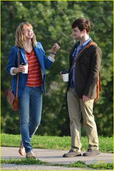 Daniel Radcliffe + Zoe Kazan on the set of F WORD in Canada.