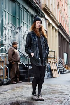 Leather Button Down // The Sartorialist The Sartorialist, Street Look, Street Style, Love Fashion, Vintage Fashion, Fashion Blogs, Diy Fashion, Mercer Street, Vintage Leather Jacket