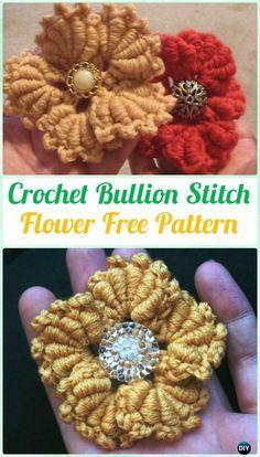 Crochet Bullion Stitch Flower Free Pattern - #Crochet Bullion Stitch Free Patterns