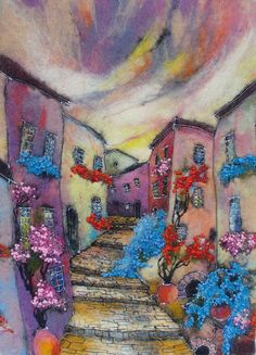Felt Picture. Beautiful Town by HappyColorfulFelting on Etsy