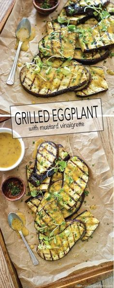 Eggplant Salad with vinaigrette is the perfect side dish recipe to serve at your next picnic! Eggplant is charred on both sides. Drizzle with a vinaigrette, sprinkle with micro greens and the result is a fresh way to highlight a great veggie! Side Dish Recipes, Vegetable Recipes, Vegetarian Recipes, Cooking Recipes, Healthy Recipes, Dishes Recipes, Grilling Recipes, Vegetarian Grilling, Healthy Grilling