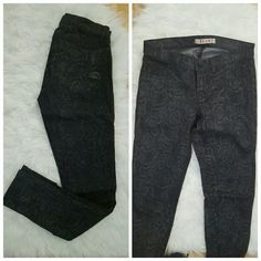 Cool coated J Brand jeans - snake print Chic coated skinny jeans with a snake print, these add edge to your everyday outfit.  The base is black,  the coating is dark gray.  These have a good amount of stretch which makes then really comfortable. Wear them with a silk top and black patent heels at night,  gray booties and sweater for a casual brunch look,  or chucks and a tshirt on a lazy errand day.  These are preloved, but only worn a handful of times. J Brand Jeans Skinny