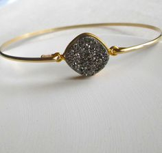 Platinum Drusy Bracelet / Gold Filled Grey Druzy by SilverorBronze
