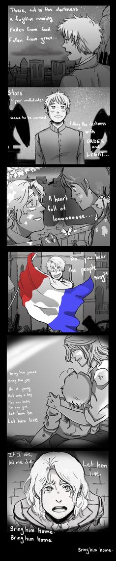 Les Misertalia Tease holy hell, Arthur as Javert, Francis as Jean ValJean, Alfred as Enjolras, Mattie as Marius and Seychelles as Cosette!! I love it!!! by ExclusivelyHetalia on deviantART