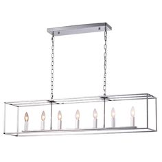 Squared Cage Island Chandelier chrome