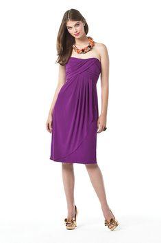 Strapless Pleated Chiffon Short Purple Maternity Bridesmaid Dress 2012  Online Dessy Bridesmaid Dresses 8b2954ada2d8