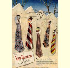 1947 ad for Van Heusen Ties. #surrealist #1940s #fashion #ads