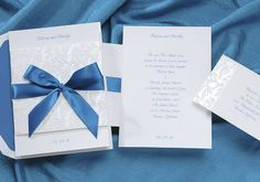 Blue and White Wedding Ideas - Blue Ribbon Wedding Invitations by Occasions In Print (Invitation Link - http://www.occasionsinprint.yourinvitationplace.com/Detail.aspx?ItemNum=T3704PC&WebName=occasionsinprint)