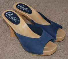 Candies blue leather Candie slip on slide heels shoes womens size 8 #Candies #Slides #Casual