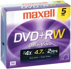 Maxell Dvd+Rw - Jewel Case - Case Pack 2 SKU-PAS393852 by Maxell. $48.30. Maxell 634045 4.7 Gb Dvd+Rws (5 Pk With Jewel Cases). 4.7 Gb; 2 Hours ; 10,000 Read/Write Cycles ; Supports 1X-24X Write Speeds ; Quick Formatting ; Sequential Full Playback Compatibility ; 50-Year Archival Life; Includes Jewel Cases; 5 Pk. Save 57% Off!