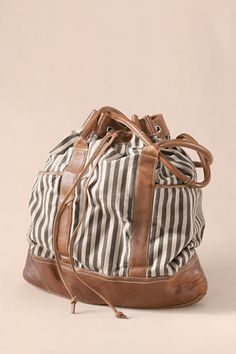 Women's Striped Overnight Bag from Lands' End Canvas