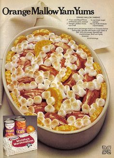 This truly incredible ad for canned yams: Vintage Thanksgiving Retro Recipes, Old Recipes, Vintage Recipes, Cookbook Recipes, Candy Recipes, Vintage Food, Retro Food, Vintage Ads, Weird Vintage