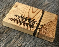 Waters Edge Wood burned Landscape Art on Wood by TwigsandBlossoms