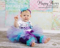 Turquoise and Purple tutu with matching by alliballiboutique, $23.95
