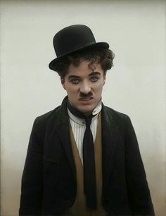 A beautiful colorized photo of Charlie Chaplin.