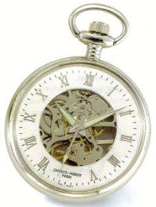 Charles-Hubert ,Pocket Watch 17 jewels - Chrome Plated Open Face & Back, Roman Numerals Pocket Watch Goldfinger. $97.95. Charles-Hubert  17 jewels. Curb chain, Belt clip. Open face and back. Case diameter 48mm. Mechanical winding movement