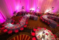 Cool table set up! Photo of: indian wedding reception venue lighting decor | MaharaniWeddings.com