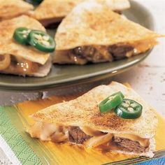 Philly Cheese Steak Quesadillas  -  fun easy week night dinner with sweet and sour cole slaw??