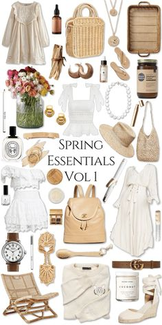 Spring Style Essentials Volume 1 Trend Forecast by Annie Fairfax What to Wear Spring Straw Hats Eyelet Ruffle Layers Fresh Flowers Freshwater Pearls Clean Beauty Vegan Cosmetics Chanel Serena & Lily Kiel James Patrick Tan Taupe Sunny Neutrals Summer Essentials, Fashion Essentials, Style Essentials, Fashion Outfits, Womens Fashion, Fashion Tips, Fashion Trends, 80s Fashion, Fashion Bloggers