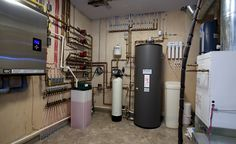 what a mechanical room should look like Basement Renovations, Home Remodeling, Garage Design, House Design, Refrigeration And Air Conditioning, Mechanical Room, Heating And Plumbing, Infrared Heater, Modern Farmhouse Plans