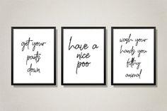 Bathroom Prints Set Of 3 Wall Prints Wall Art Home Decor | Etsy