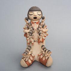 Dorothy-Trujillo-Polychrome-Pottery-Storyteller-Cochiti-Indian-Mother-21-Babies