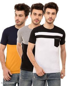 Checkout this latest Tshirts Product Name: *Men's Cotton Blend T-shirts  ( Pack Of 3 )* Fabric: Cotton Blend Sleeve Length: Short Sleeves Pattern: Colorblocked Multipack: 3 Sizes: S, M, L, XL Country of Origin: India Easy Returns Available In Case Of Any Issue   Catalog Rating: ★4 (4709)  Catalog Name: Trendy Men's Cotton Blend T-shirts Combo Vol 3 CatalogID_288012 C70-SC1205 Code: 945-2169488-6321