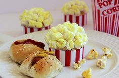 """Butter Toffee """"Popcorn"""" Cupcakes and Mini Dogs with Butter Buns-perfect for family movie night! Summertime Movie, Toffee Popcorn, Butter Toffee, Mini Dogs, Family Movie Night, Unique Recipes, Us Foods, Pasta Recipes, Delicious Desserts"""