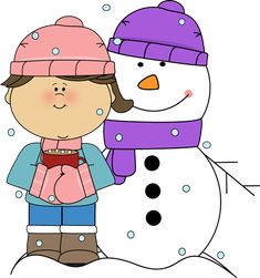 Girl Drinking Cocoa with Snowman Clip Art - Girl Drinking Cocoa with Snowman Image