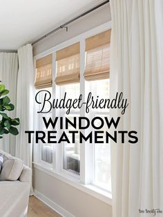 Budget-Friendly Living Room Window Treatments - - Living room window treatments featuring budget-friendly cordless woven shades and linen cotton curtains, paired with black curtain rods. Bedroom Windows, Living Room Windows, Living Room Drapes, Curtain Ideas For Living Room, Family Room Curtains, Kitchen Windows, Farmhouse Window Treatments, Living Room Window Treatments, Small Window Treatments