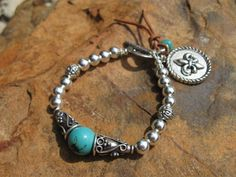 Western Turquoise and Silver Bracelet Eternity by fleurdesignz