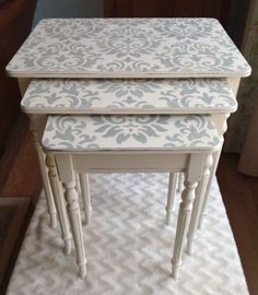 Chic Garden Decor Shabby chic, Duck Egg Blue / Teal, Damask, Nest of tables, painted Annie Sloan ' Decoupage Furniture, Refurbished Furniture, Paint Furniture, Upcycled Furniture, Shabby Chic Furniture, Furniture Makeover, Vintage Furniture, Furniture Decor, Dresser Makeovers