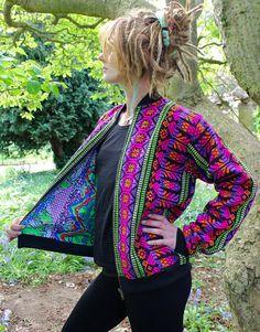 Blouson réversible, festival vêtements, veste funky, coloré veste, vêtements hippie