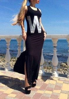 Black Monogram Print Irregular U-neck Casual Maxi Dress