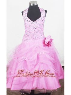 Beading Halter and Hand Made Flower For Little Girl Pageant Dresses- $135.02  http://www.fashionos.com  http://www.facebook.com/quinceaneradress.fashionos.us  Halter-top neck accentated with crystals and colorful beading encrusted bodice, completes with tulle pick-ups on the full skirt. The floral decorations on the waist flattering the whole dress. The back is fitted with a zipper.