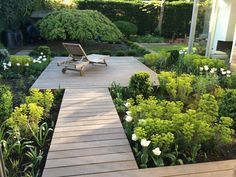 Floating decks and shapes, like the way garden bed contours lead you around the garden