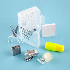 Mini Office Tool Set. This little kit looks perfect for carrying around mini-office supplies.