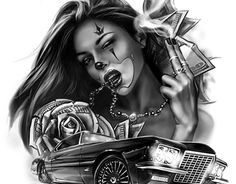"Check out this project: ""CG art, Illustration""… Gangster Tattoos, Chicano Tattoos, Chicano Style Tattoo, Lowrider Tattoo, Lowrider Art, New Tattoos, Body Art Tattoos, Sleeve Tattoos, Temporary Tattoos"