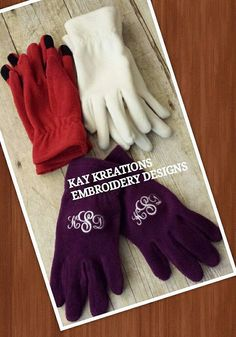 GLOVES NAVY   Monogrammed iTOUCH gloves to use by KayKreations2012, $25.00