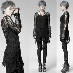 Goth all black loose knit pullover sweater + tank + pants + heels + necklace | fall spring style